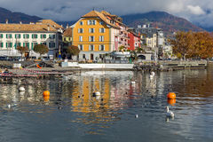 Panoramic view of Vevey, canton of Vaud, Switzerland Royalty Free Stock Photos