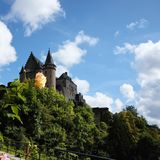 Vianden castle with a rose stock image