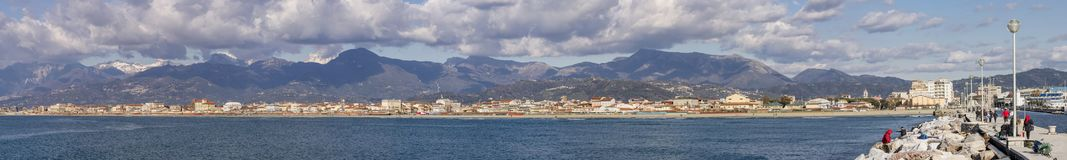 Panoramic view of Viareggio and Apuan Alps, Lucca, Tuscany, Italy stock photography
