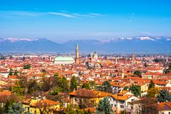 Panoramic view of Vicenza. Basilica Palladiana, and Alps mountai. N on background. Veneto Italy Europe Stock Image