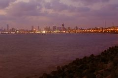 Panoramic view of the Victoria's necklace along the marine drive in Mumbai. During evening time Stock Image