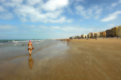 Panoramic view of Victoria Beach, Costa de la Luz, Cadiz, Andalusia, Spain Stock Photography