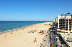 Panoramic view of Victoria Beach, Costa de la Luz, Cadiz, Andalusia, Spain Stock Images