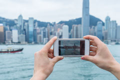 Panoramic view of victoria harbor in Hong Kong Stock Photo