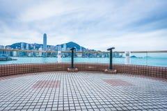 Panoramic view of victoria harbor in Hong Kong Stock Image