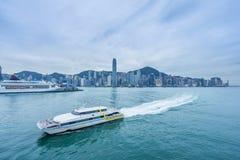 Panoramic view of victoria harbor in Hong Kong Stock Photos