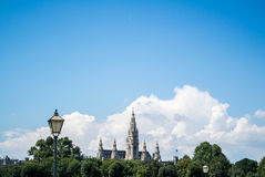 A panoramic view of Vienna city center. A panoramic view of Vienna center, a park and a city hall building, Austria Royalty Free Stock Image