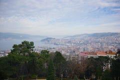 Panoramic view of Vigo from ruins of Vigo castle, Vigo, Galicia, Spain royalty free stock photos