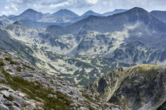 Panoramic view From Vihren Peak to Pirin Mountain Royalty Free Stock Photos