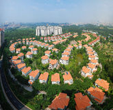 Panoramic view the villa. Overlook the luxury villas from the tall building Stock Image
