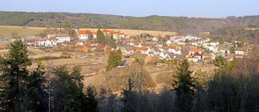 Panoramic view on a village royalty free stock photo
