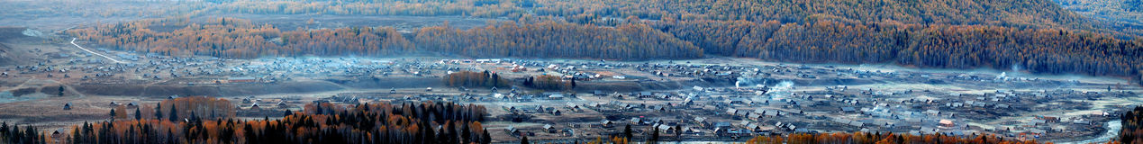Panoramic View of Village. A small village in thd valley Stock Photo