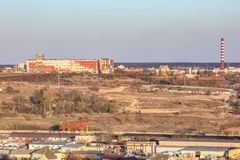 Panoramic view on village building area urban development residential quarter in the evening from a bird`s eye view royalty free stock image
