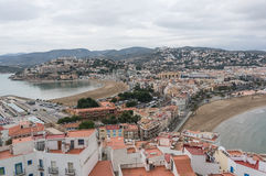 Panoramic view of the village from the castle the two beaches in Peniscola Stock Photo