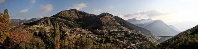 Panoramic view of a village in greece Royalty Free Stock Images