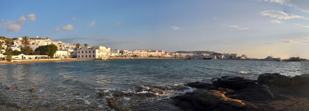 Panoramic view of village on greek island mykonos Royalty Free Stock Images