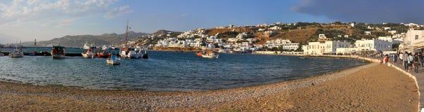 Panoramic view of village on greek island mykonos Royalty Free Stock Photo