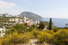 Panoramic view of the village Gurzuf and Bear Mountain Au-Dag , Adalary Bolgatura the . Crimea. Royalty Free Stock Image