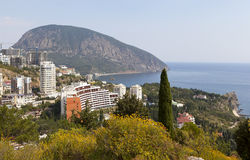 Panoramic view of the village Gurzuf and Bear Mountain Au-Dag , Adalary Bolgatura the mountain. Crimea. Royalty Free Stock Photo