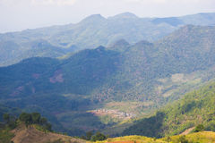 Panoramic view of the village of northern Thailand Royalty Free Stock Photos