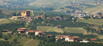Panoramic view on village and old castle in Italy. Stock Images