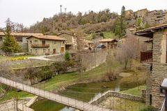 Panoramic view of the village of Rupit royalty free stock image