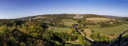 Panoramic view of the village of Saalek and the old fortress in the valley of the river Saale. Tourist place Sachsen-Anhalt, Germa stock photos