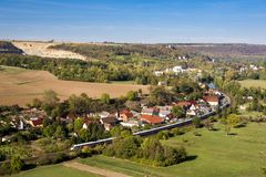 Panoramic view of the village of Saalek and train in the valley of the river Saale. Tourist place Sachsen-Anhalt, Germany. stock photography