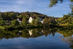 Panoramic view of the village of Saalek in the valley of the river Saale. Tourist place Sachsen-Anhalt, Germany. stock photography