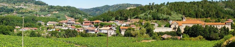 Panoramic view of the village of San Clodio. And medieval monastery, Leiro, Ourense, Galicia, northwest of Spain Stock Image
