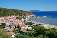 Panoramic view at village Susak with sand beach in Croatia Royalty Free Stock Photography