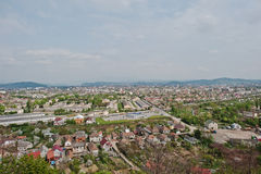 Panoramic view of village and town background mountains Royalty Free Stock Photography