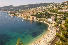 Panoramic view of Villefranche bay with boats and beaches. Cote d`Azur French Riviera is situated in the southern eastern part of the mediterranean coast of stock photography