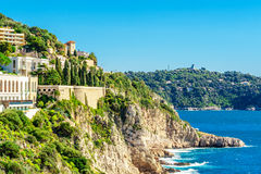 Panoramic view of Villefranche-sur-Mer, Nice, French Riviera. Royalty Free Stock Photos