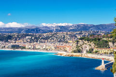 Panoramic view of Villefranche-sur-Mer, Nice, French Riviera. Stock Photo