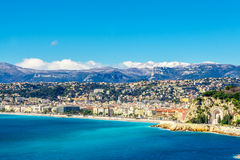 Panoramic view of Villefranche-sur-Mer, Nice, French Riviera. Stock Image