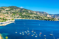 Panoramic view of Villefranche-sur-Mer, Nice, French Riviera. Stock Images