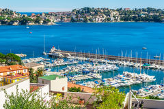 Panoramic view of Villefranche-sur-Mer, Nice, French Riviera. Royalty Free Stock Images