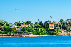 Panoramic view of Villefranche-sur-Mer, Nice, French Riviera. Royalty Free Stock Image