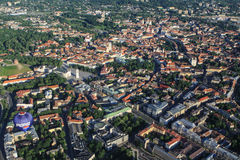 Panoramic view of Vilnius from birds eye Stock Image