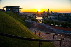 Panoramic view of Vilnius business city, Lithuania royalty free stock photos