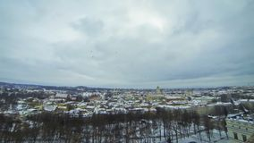 Panoramic view of Vilnius city, Lithuania stock footage