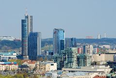 Panoramic View of Vilnius City Old Town and Modern Buildings Royalty Free Stock Images