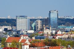 Panoramic View of Vilnius City Old Town and Modern Buildings Stock Photo