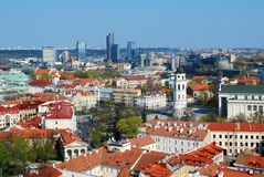 Panoramic View of Vilnius City Old Town and Modern Buildings. In the Horizon Royalty Free Stock Photography