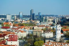 Panoramic View of Vilnius City Old Town and Modern Buildings Stock Images