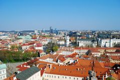 Panoramic View of Vilnius City Old Town and Modern Buildings. In the Horizon Stock Photo
