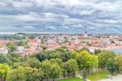 Panoramic view of Vilnius from Gediminas hill in Lithuania.  stock photography