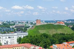 Panoramic view of Vilnius old town and castle Royalty Free Stock Photography