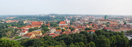 Panoramic view of Vilnius old town, Lithuania stock photo